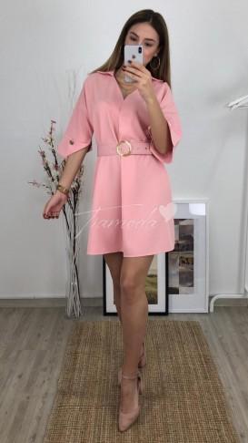 Kemerli Mini Elbise - Pudra