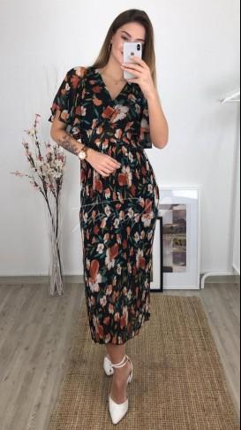 Kol Fırfır Şifon Elbise - Siyah