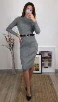Yarım Balıkçı Triko Elbise - Gri