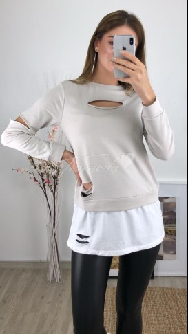 Tshirt Detaylı Sweatshirt - Gri