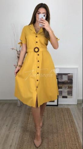 Kolu Fiyonklu Midi Elbise - Sarı