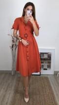 Kolu Fiyonklu Midi Elbise - Kiremit