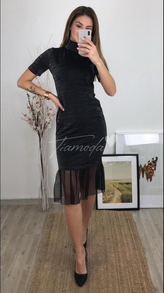 Eteği Tül Simli Elbise