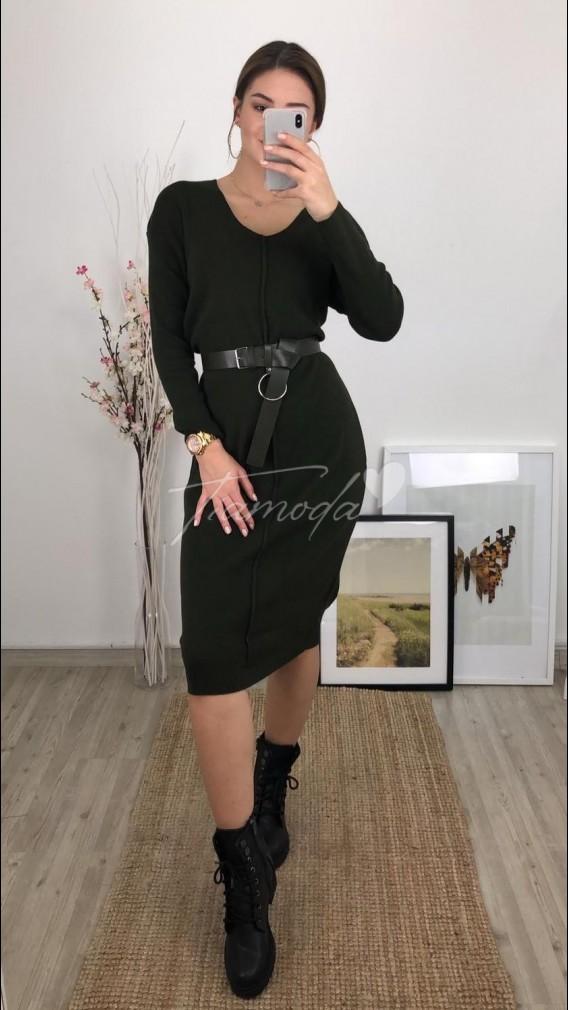 Deri Kemerli Triko Elbise - Siyah
