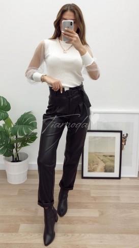 Yüksek Bel Deri Pantolon