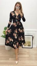 Beli Kuşaklı Uzun Kol Çiçekli Elbise