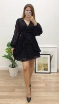 Kadife Çiçek Baskılı Şifon Elbise - Siyah