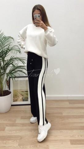 Yanı Şeritli Triko Pantolon - Siyah