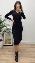 Kruvaze Piliseli Triko Elbise - Siyah
