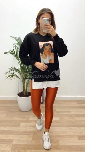 Portre Baskılı Sweatshirt - Siyah