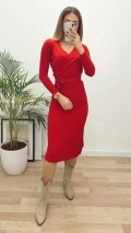 Kruvaze Piliseli Triko Elbise - Kırmızı