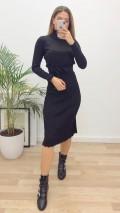 Balıkçı Piliseli Triko Elbise - Siyah