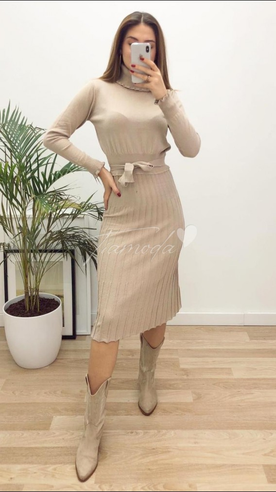 Balıkçı Piliseli Triko Elbise - Bej