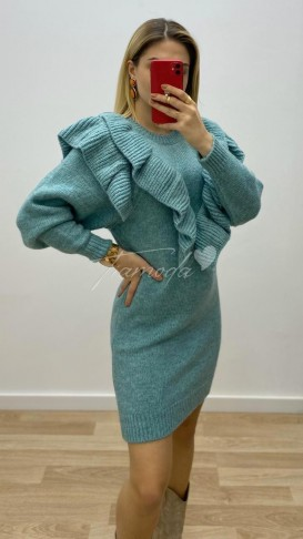 Fırfır Detay Triko Elbise - Mint Yeşili