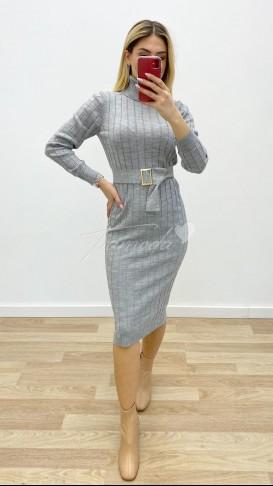 Tokalı Triko Elbise - Gri