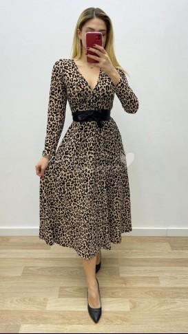 Beli Kuşaklı Uzun Kol Leopar Elbise