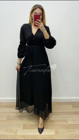 Maksi Şifon Elbise - Siyah