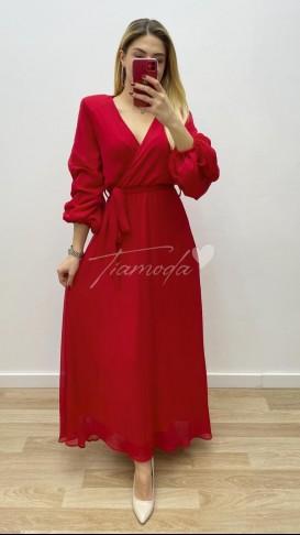 Maksi Boy Şifon Elbise - Kırmızı