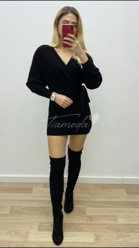 Kuşaklı Mini Triko Elbise - Siyah