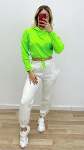 Kapüşonlu Crop Sweat - Yeşil