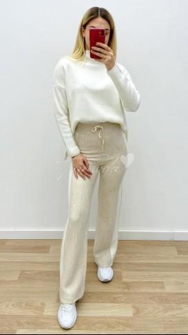 Yanı Şeritli Triko Pantolon - Taş