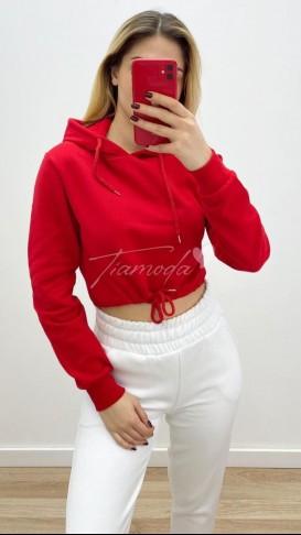 Kapüşonlu Crop Sweat - Kırmızı