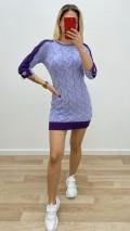 Kolu Halka Detaylı Triko Elbise - Lila