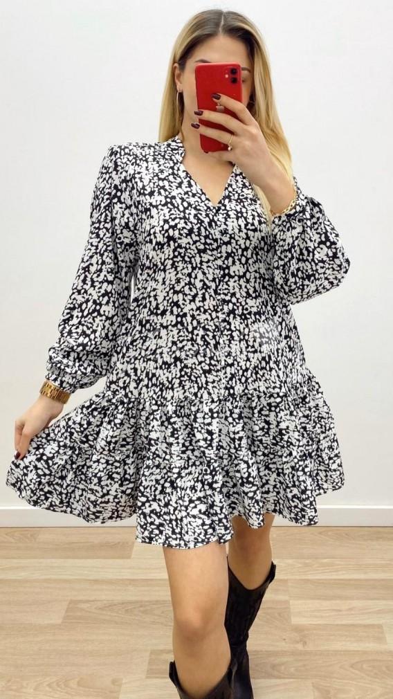 Çıtır Desen Mini Elbise