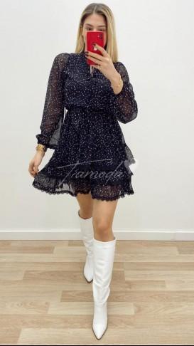 Puantiyeli Mini Şifon Elbise