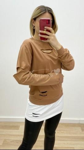 Tshirt Detaylı Yırtık Sweatshirt - Kahve