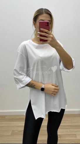 Boyfriend Yırtmaçlı Tshirt - Beyaz