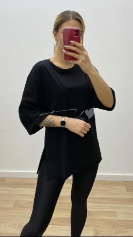 Boyfriend Yırtmaçlı Tshirt - Siyah