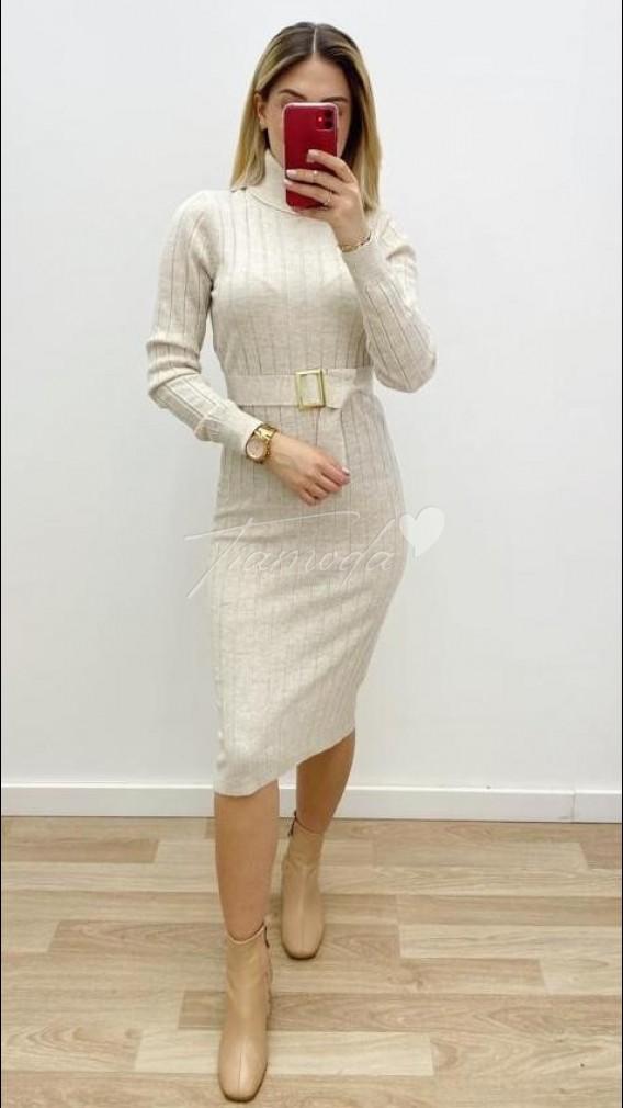 Tokalı Triko Elbise - Krem