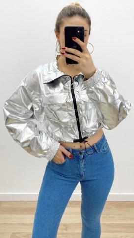 Crop Parlak Ceket - Gümüş