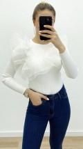 Tül Fırfırlı Triko - Beyaz