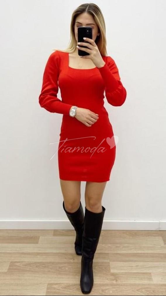 Kare Yaka Bileği Lastikli Elbise - Kırmızı