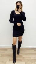 Kare Yaka Bileği Lastikli Elbise - Siyah