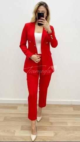 Denizci Ceket Pantolon Takım - Kırmızı