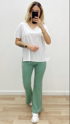 Lazer Kesim Oversize Tshirt - Beyaz
