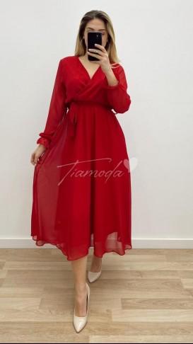 Midi Şifon Elbise - Kırmızı