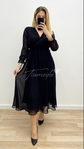 Midi Şifon Elbise - Siyah