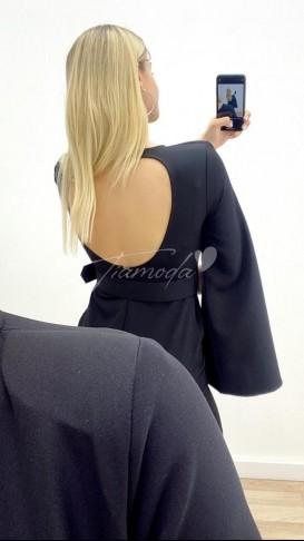 İspanyol Kol Sırt Detay Elbise - Siyah