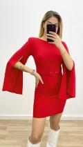 İspanyol Kol Atlas Elbise - Kırmızı