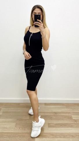 Askılı Kaşkorse Elbise - Siyah