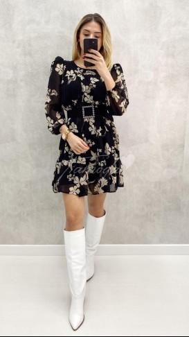 Kare Kemer Çiçekli Elbise
