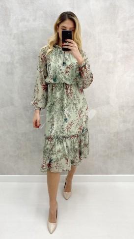 Bel Lastik Çiçekli Şifon Elbise