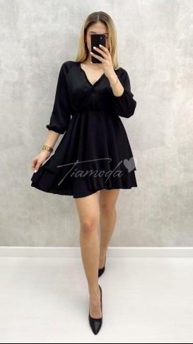 Kruvaze Saten Elbise - Siyah