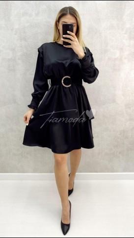 Kemerli Kat Kat Saten Elbise - Siyah