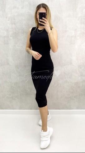 Kolsuz Triko Elbise - Siyah