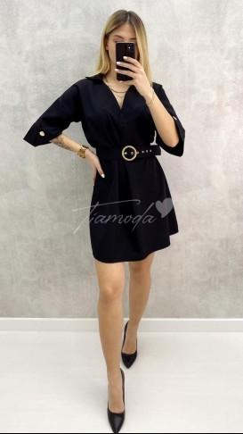 Fakir Kol Kemerli Mini Elbise - Siyah